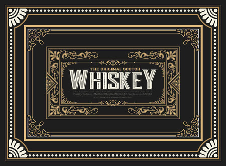 western border: Whiskey label with old frames