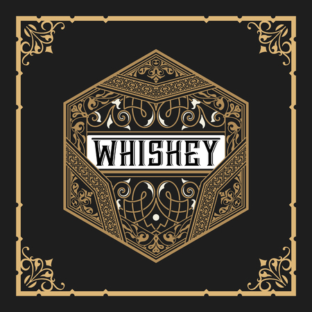 label frame: Whiskey label with old frame