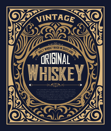 Etiqueta del vintage para el whisky. Se puede aplicar este diseño para otros productos también.
