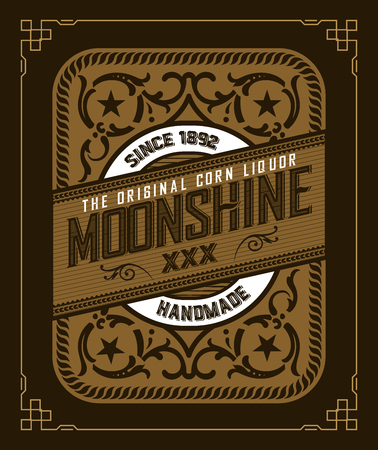Vintage label design for Whiskey and Wine label, Restaurant banner, Beer label.