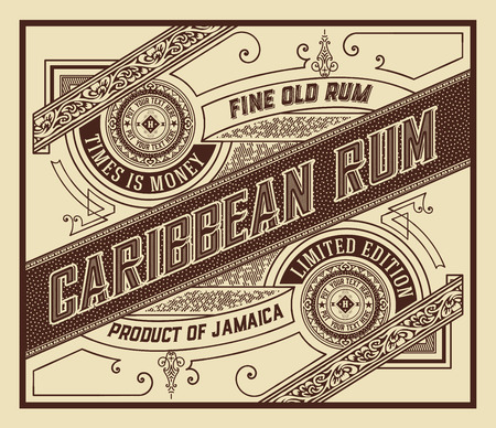 Rum label with old ornaments Illustration