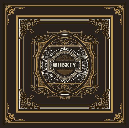 Vintage label design for Whiskey and Wine label, Restaurant banner, Beer label. Vector illustration  イラスト・ベクター素材