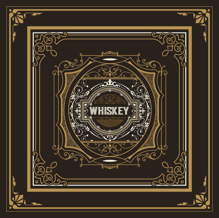 frame vintage: Vintage label design for Whiskey and Wine label, Restaurant banner, Beer label. Vector illustration Illustration