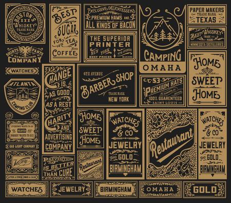 mega paquete de viejos diseños de publicidad y etiquetas - ilustración vectorial