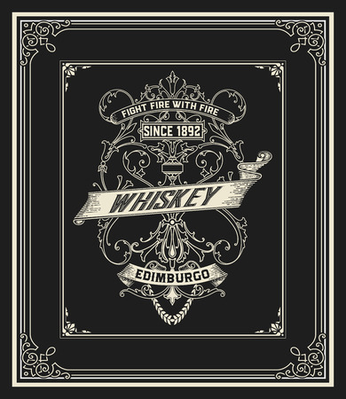 old frame: Whiskey card with old frame
