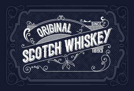 vintage banner: Vintage label design for Whiskey and Wine label, Restaurant banner, Beer label. Vector illustration Illustration
