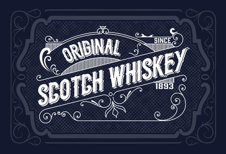 Vintage label design for Whiskey and Wine label, Restaurant banner, Beer label. Vector illustration Stock Illustratie