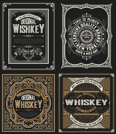 ウイスキー ラベスを設定します。  イラスト・ベクター素材