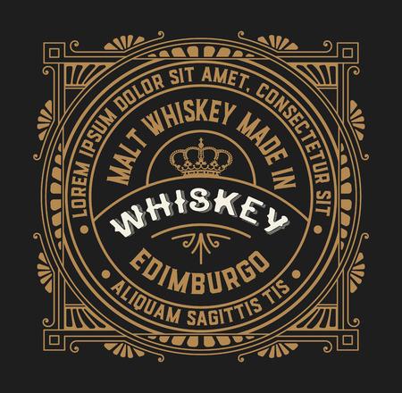 Stary projekt etykiety na etykiecie whisky i wino, restauracja transparent, etykiecie piwa. Ilustracje wektorowe