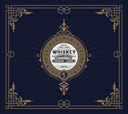 label design: Whiskey card with vintage frame Illustration