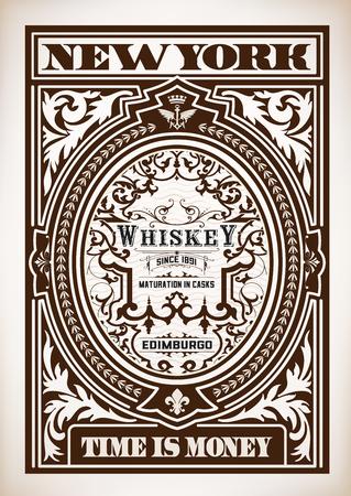 etiqueta de whisky con marcos antiguos. capas vectoriales