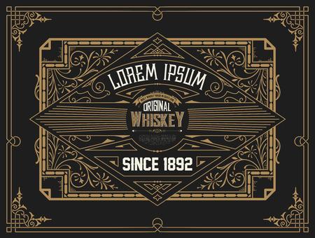 label frame: Old Whiskey label with vintage frame
