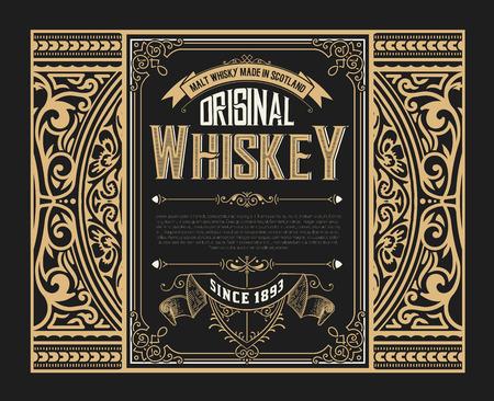 Old whiskey label Çizim