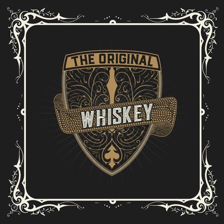 western border: old vintage whiskey label design