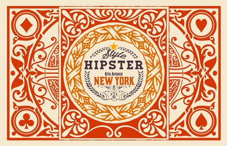 vintage patterns: Hipster card. Baroque ornaments and floral details,