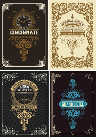 Premium Quality Cards set. Baroque ornaments and floral details. Organized by layers