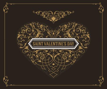 Ornate heart in retro style. Elegant element for logo design. Floral illustration for wedding invitations, greeting cards, Valentines cards with Vintage frame. Illustration