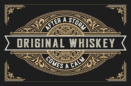 Retro whiskey label. Vector layered Illusztráció