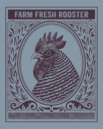 Vintage organic farm fresh rooster card