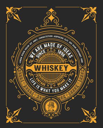 ancienne conception de l'étiquette de whisky millésime Vecteurs