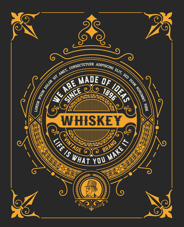 old vintage whiskey label design