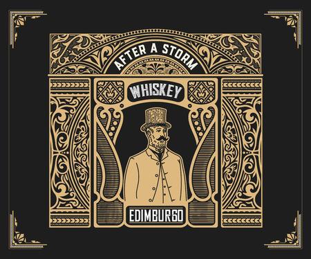 vintage: Vintage label for whiskey packing Illustration