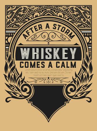label design: Old  label design for Whiskey and Wine label, Restaurant banner, Beer label.