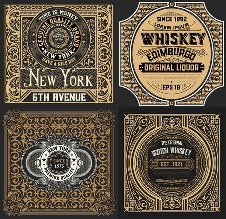 lager beer: Vintage cards set. Western Style Illustration