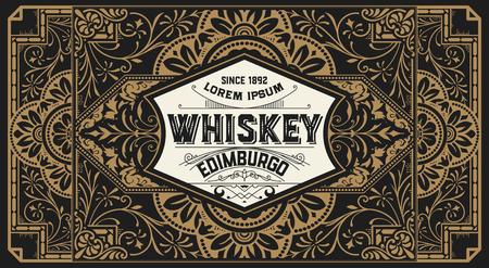 baroque border: Old  label design for Whiskey and Wine label, Restaurant banner, Beer label.