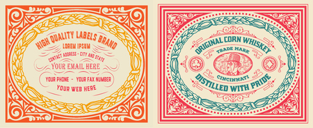 Retro cards set with engraving and  floral details. Organized by layers.
