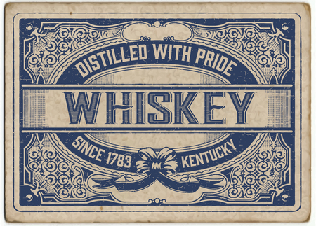 Retro Label with cracked style