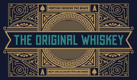lager beer: Whiskey label vintage western.