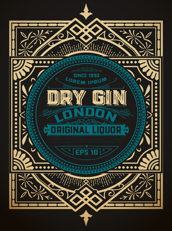 Gin label with floral frame 向量圖像