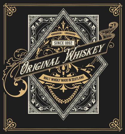 Old  label design for Whiskey and Wine label, Restaurant banner, Beer label. Vector illustration Illustration