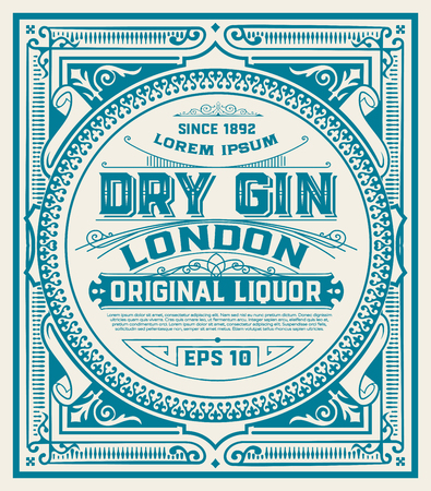 Gin label with floral ornaments Vectores