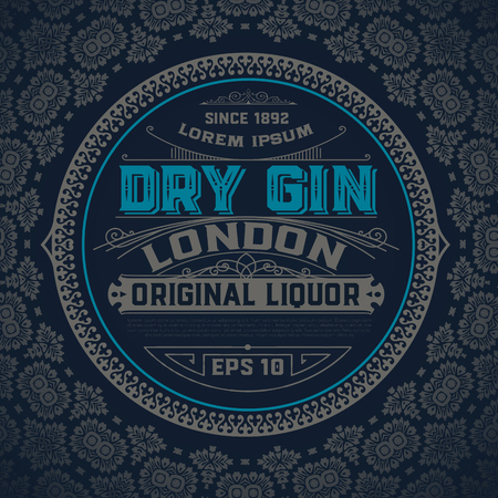 Gin label with floral ornaments Illustration