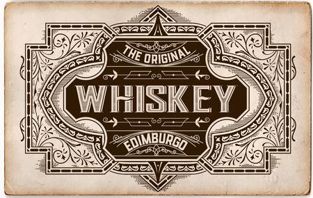 Etiqueta del whisky de la vendimia