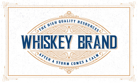 Whiskey logo with vintage frame Illustration