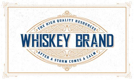 Whiskey logo with vintage frame Çizim