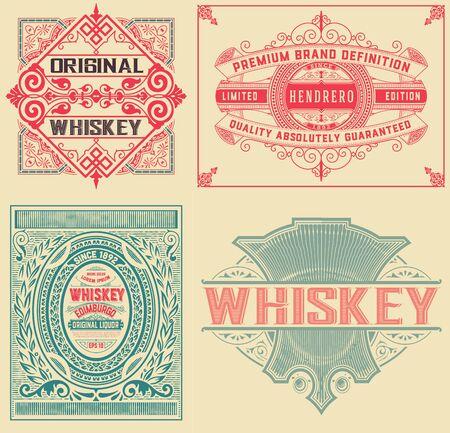 Set of 4 vintage labels  イラスト・ベクター素材