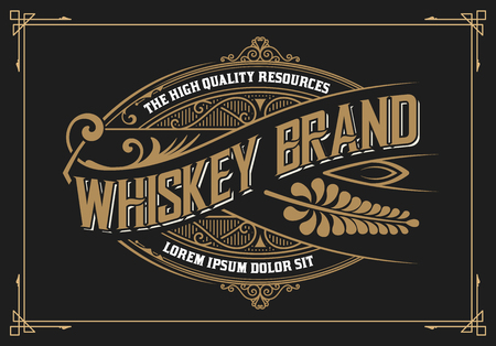 Vintage design. Whiskey label style Çizim
