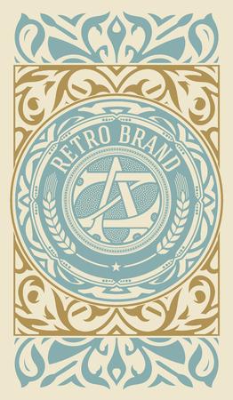Retro label design illustration, portrait vintage ornament