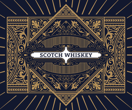 Vintage label for whiskey. You can apply this design for another products too. 일러스트