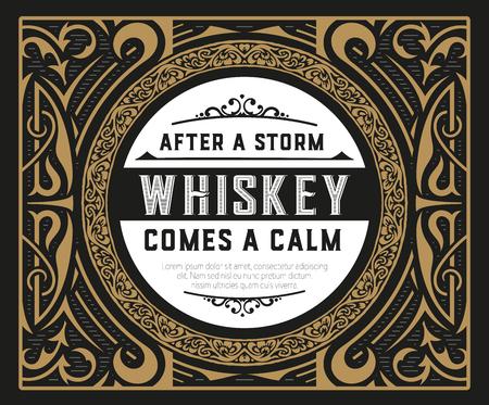 Old whiskey label Ilustração