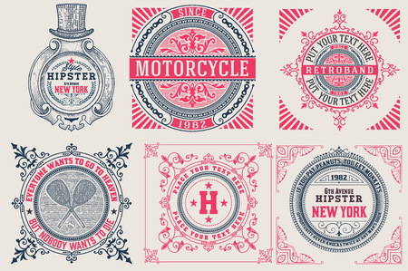 Retro cards set. Illustration