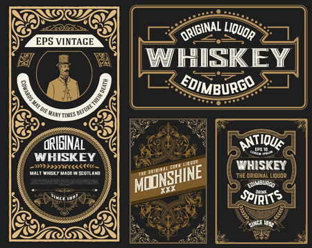Set Whiskey labes. vector layered Ilustrace