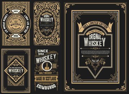 Set di 5 etichette. stile western