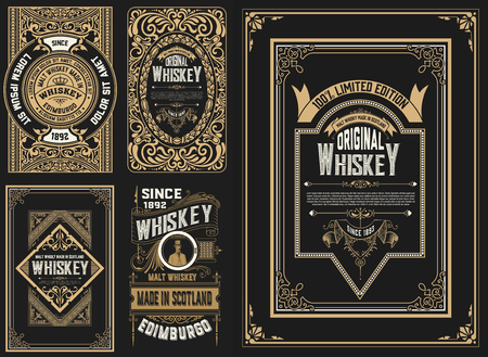 Set of 5 labels. Western style