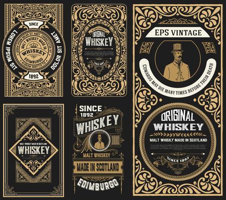 Set mit 5 alten Etiketten. westlicher Stil Vektorgrafik