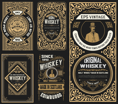 Set of 5 old labels. Western style Stok Fotoğraf - 102286647